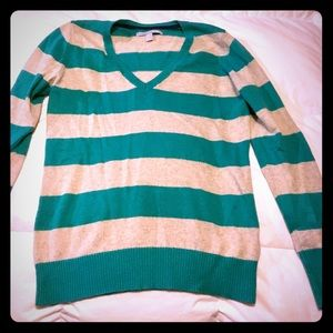 Heathered cream and teal striped sweater